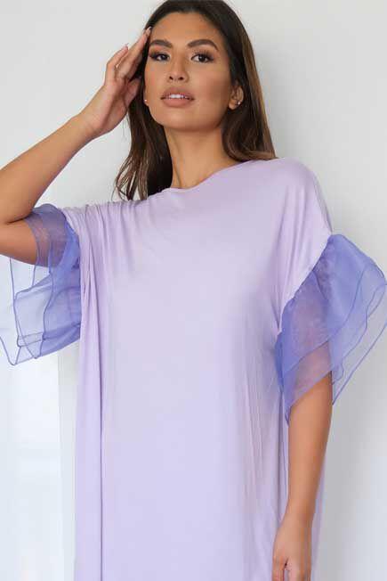 Missguided - Lilac Organza Sleeve T Shirt Dress