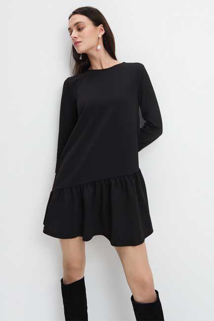 Mohito - Asymmetrical Frill Dress - Black