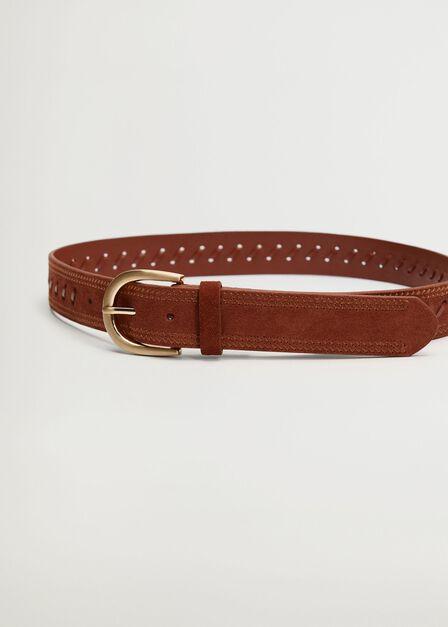 Mango - orange Detail leather belt, Women