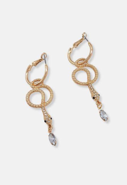 Missguided - Gold Look Snake Hoop Drop Earrings, Women