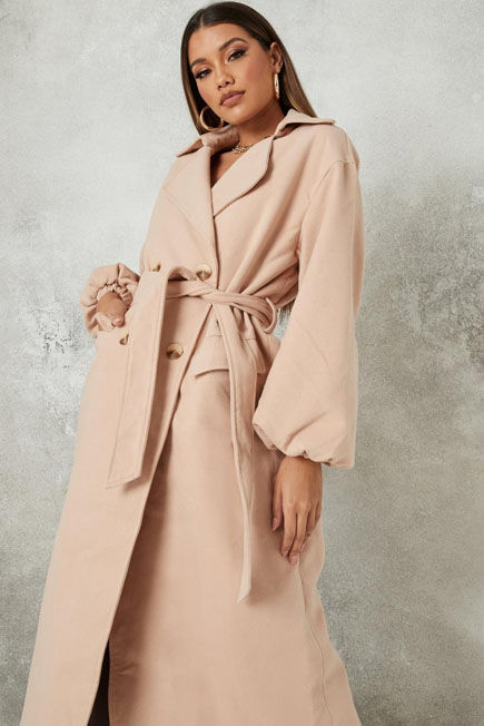 Missguided - Tan Balloon Sleeve Formal Coat