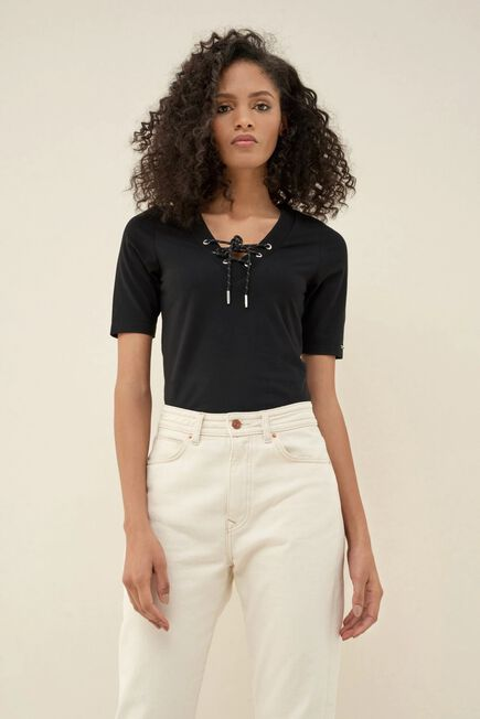 Salsa Jeans - Black Body t-shirt with detail on collar