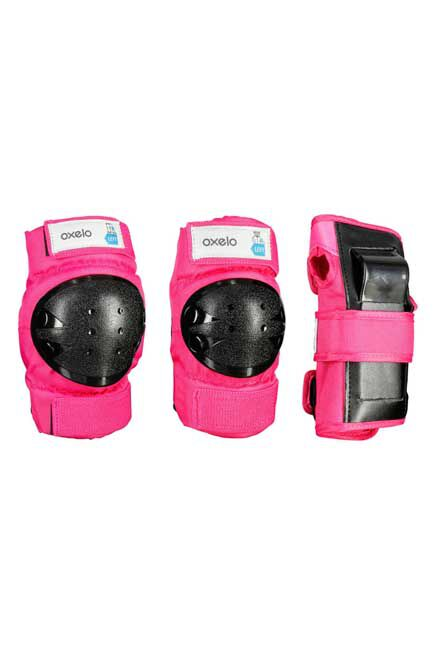 OXELO - Basic Kids' 3-Pieces Protective Gear for Skates/Skateboard/Scooter -Pink, XS