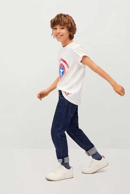 Mango - Natural White Marvel Cotton T-Shirt, Kids Boy