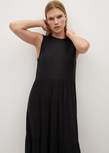 Mango - black Fluted hem dress