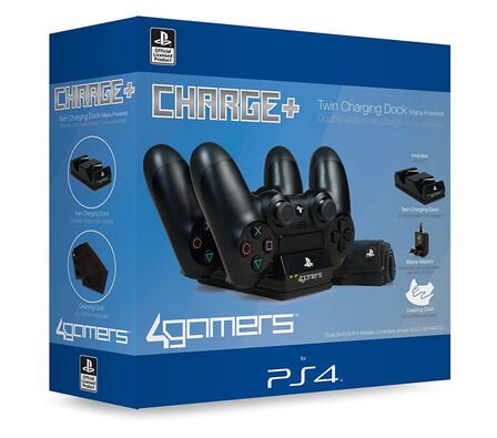 4GAMERS - 4 Gamers Twin Charger with Cleaning Cloth for Ps4 Black
