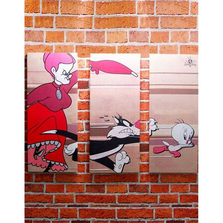 WG RETRO - Sylvester Tweety & Granny Triptych Canvas Print