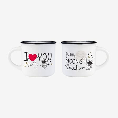 LEGAMI - Legami Espresso for Two to the Moon & Back Coffee Mugs [Set of 2]