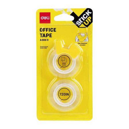 DELI - Deli Office Tape 12 mmx18.3M W/Dispenser 2 Pcs Per Blister