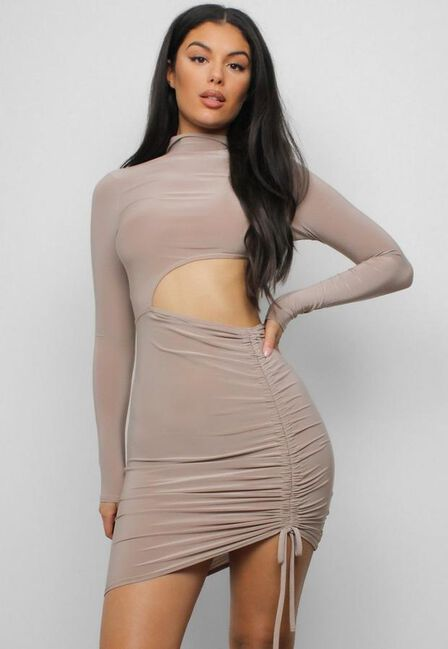 Missguided - Stone Taupe Slinky High Neck Cut Out Mini Dress