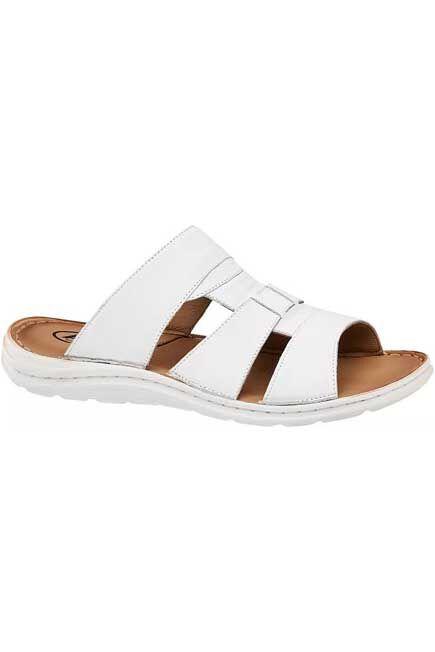 AM SHOE - White Slide Sandals, Men