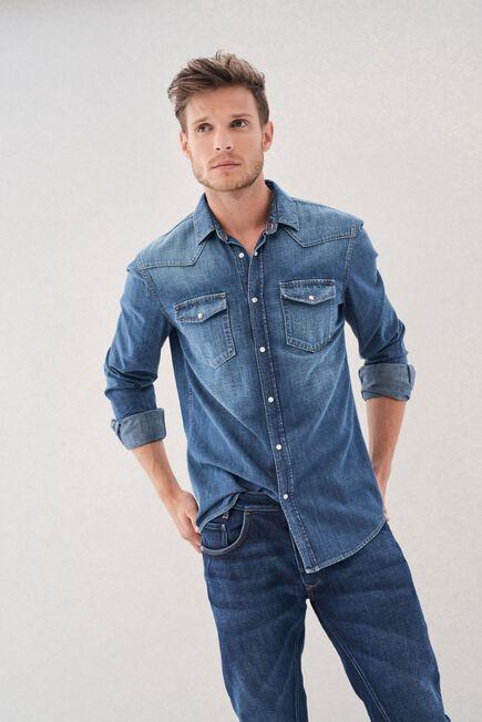 Salsa Jeans - Blue Slim Fit Denim Branded Shirt