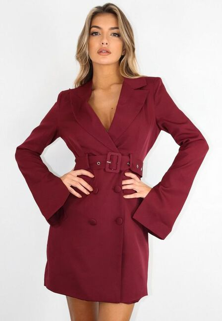 Missguided - Deep Purple Plum Belted Flare Sleeve Blazer Dress