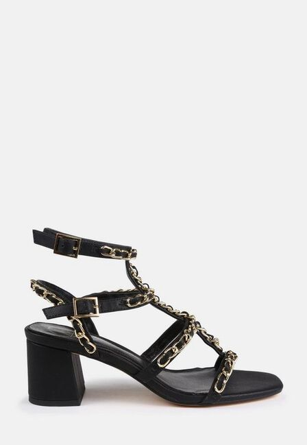 Missguided - Black Chain Chunky Gladiator Sandals