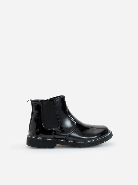Reserved - Black Patent Ankle Boots, Kids Girl