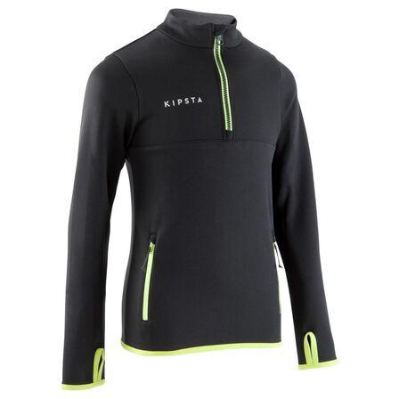 KIPSTA - 10-11Y  T500 Kids' Half-Zip Football Training Sweatshirt - Black/Neon, Black