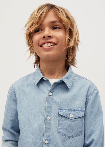 Mango - open blue Pocket denim shirt