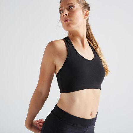 DOMYOS - Extra Small  100 Women's Fitness Cardio Training Sports Bra, Black