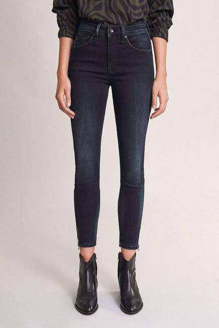 Salsa Jeans - Blue Push In Secret Glamour cropped Jeans with zips
