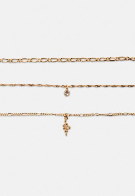 Missguided - Gold Gold Look Snake Drop Choker Multirow Necklace