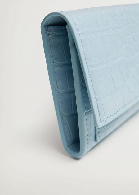 Mango - lt-pastel blue Croc-effect wallet