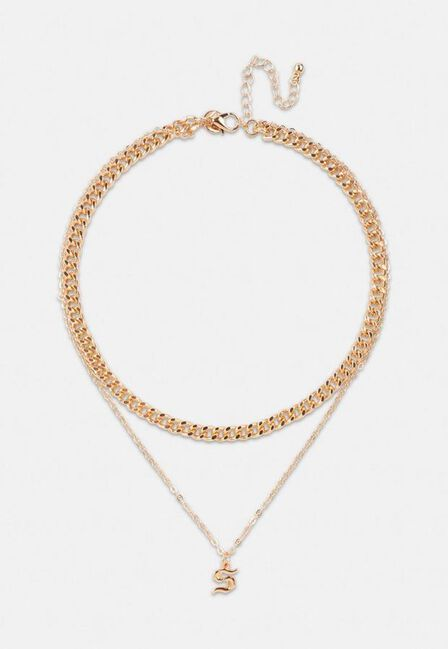 Missguided - Gold Look Gothic Initial Pendant S Necklace