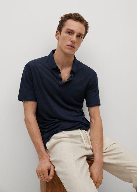 Mango - navy Slim fit 100% linen polo shirt