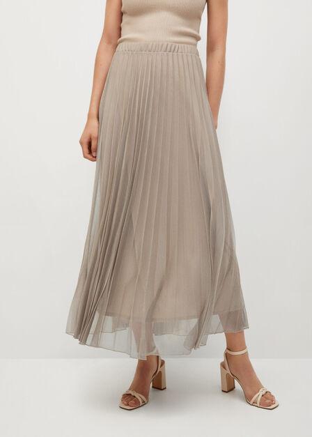 Mango - light beige Metallic pleated skirt