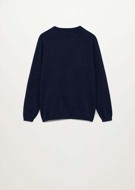 Mango - navy Elbow patches cashmere cotton sweater