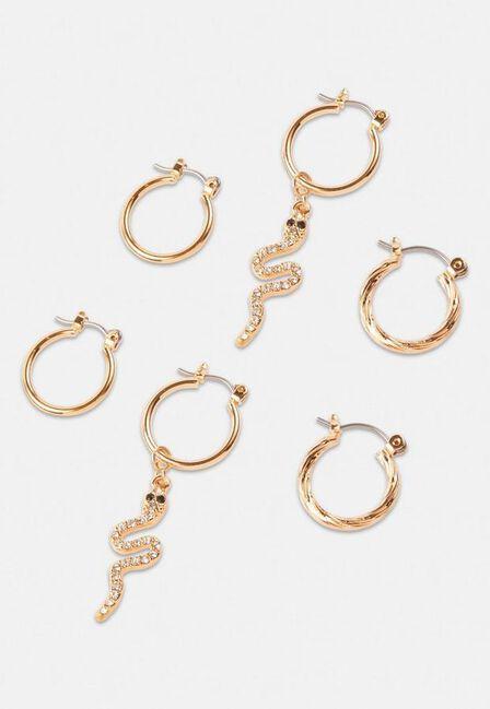 Missguided - Gold Gold Look Snake Charm Hoop Earrings 3 Pack