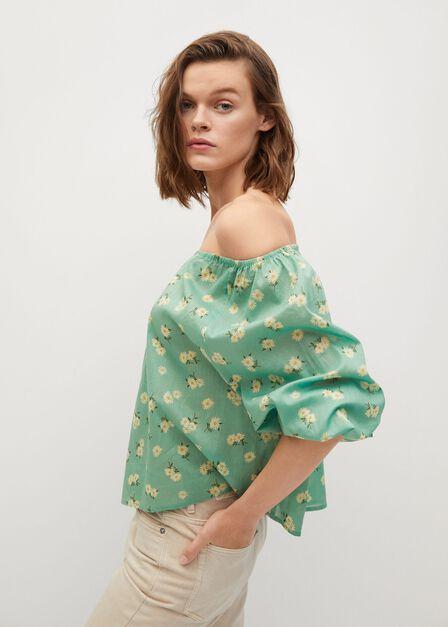 Mango - green Printed cotton blouse