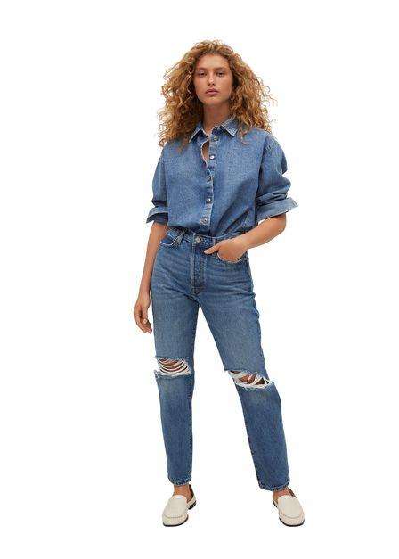 Mango - Open Blue Decorative Rips Relaxed Jeans, Women