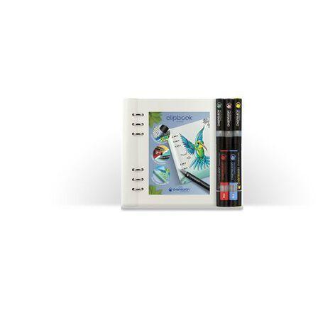 FILOFAX - Filofax Classic Monochrome A5 Clipbook White Plus Chameleon Pens Notebook