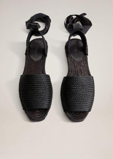 Mango - black Laces sling back espadrilles