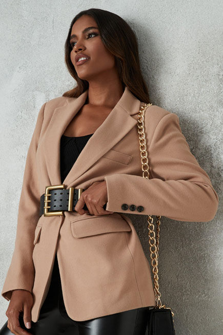 Missguided - Camel Boyfriend Blazer Coat