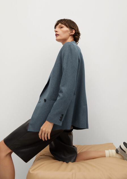Mango - medium blue Wrap check suit jacket