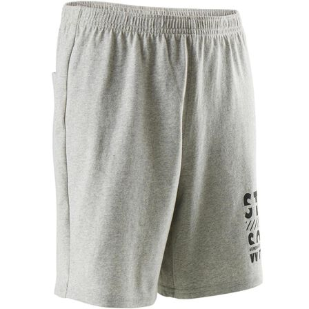 DOMYOS - 8-9Y Boys' Gym Shorts 100 - Heathered/Print - Grey