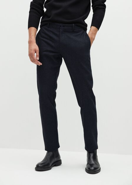 Mango - grey Slim-fit cotton trousers