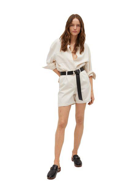 Mango - Light Beige Slouchy Pleated Shorts, Women