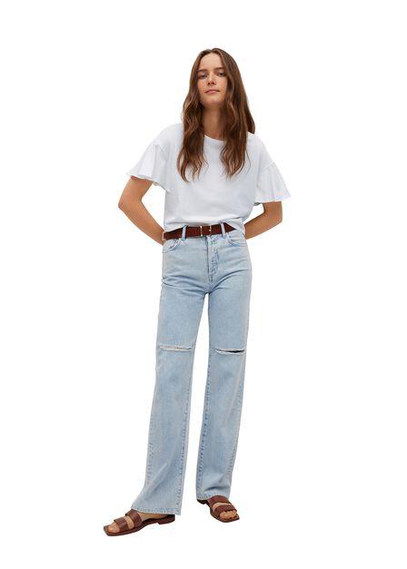Mango - White Frills Cotton T-Shirt, Women