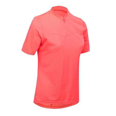 TRIBAN - Medium  100 Women's Short-Sleeved Cycling Jersey - Pink, Fluo Coral Pink