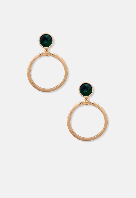 Missguided - Emerald Resin Ring Earrings