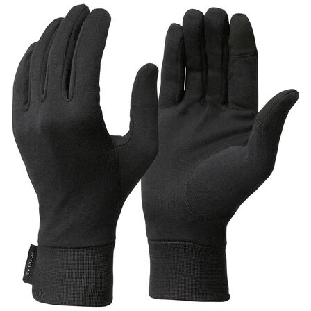 FORCLAZ - Extra Large  Black silk Trek 500 mountain trekking liner gloves, Black