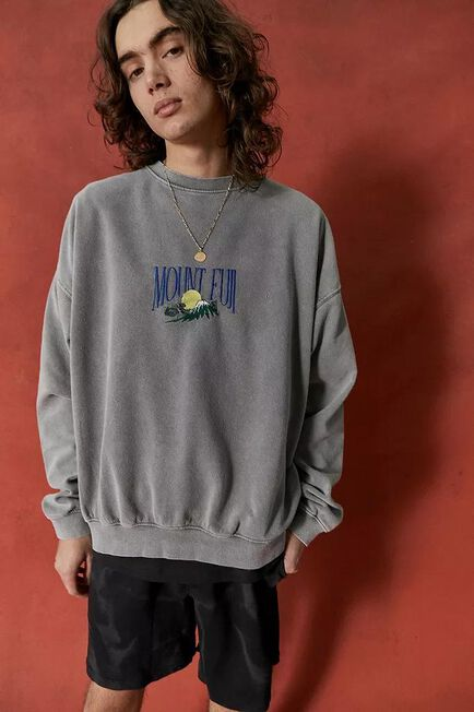 Urban Outfitters - Ivory UO Mount Fuji Stone Sweatshirt