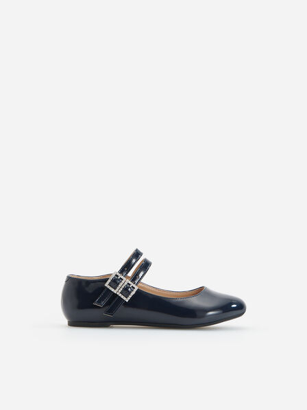 Reserved - Navy High Shine Ballerinas With Straps, Kids Girl
