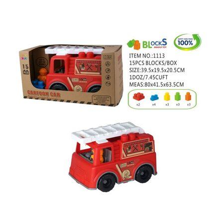 ROLL UP KIDS - Roll Up Kids Eco Friendly Fire Engine 2 Bricks Vehicle [15 Pcs]