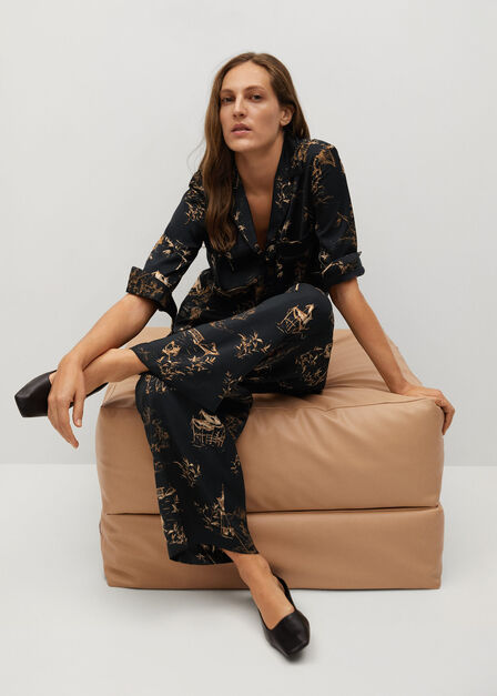 Mango - black Oriental-print trousers