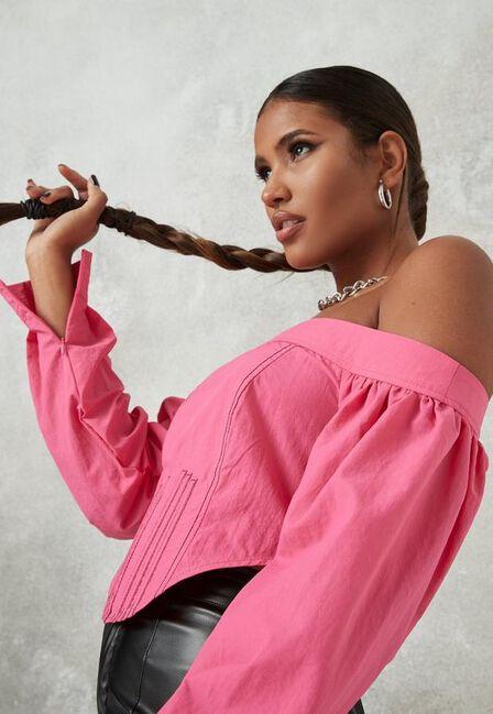Missguided - Pink Bardot Zip Back Corset Top