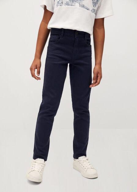 Mango - navy Slim-fit cotton trousers