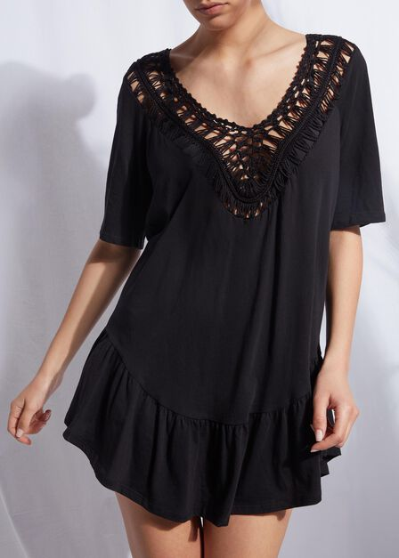 Calzedonia - BLACK Crochet Neck Kaftan